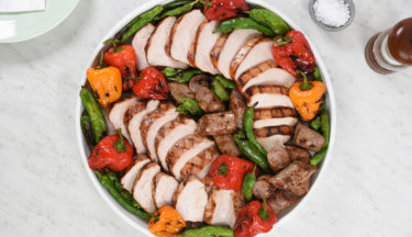 Grilled Turkey Steak, Sausage and Peppers